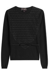 Giambattista Valli Crepe Top With Cut Out Pattern Black