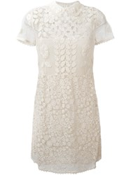 Red Valentino Macrame Sheer Panel Dress White