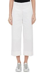 Thom Browne Women's Sack Cotton Cuffed Pants White Size 6 Us