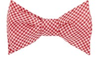 Alexander Olch Men's Gingham Woven Bow Tie Red
