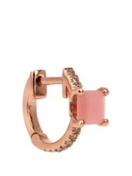 Elise Dray Diamond Quartz And Pink Gold Mini Hoop Earring Pink Gold