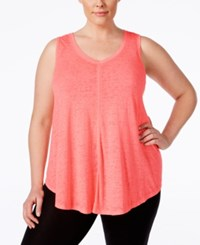 Calvin Klein Performance Plus Size Relaxed Fit V Neck Tank Top Lava