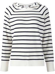 Chinti And Parker Striped Hooded Jumper Black
