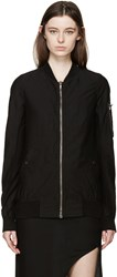 Rick Owens Black Woven Flight Jacket