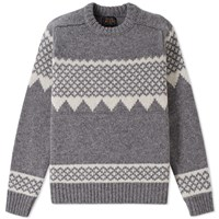 Beams Plus Snow Pattern Crew Knit Grey