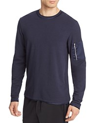 Ovadia And Sons Silk Trimmed Slim Fit Long Sleeve Tee Navy