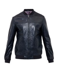 Ted Baker Action Leather Bomber Jacket Navy