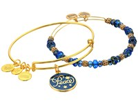 Alex And Ani Peace Set Of 2 Color Infusion Navy Shiny Gold Bracelet Metallic