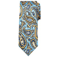 Peckham Rye Made In England Large Paisley Silk Tie Blue