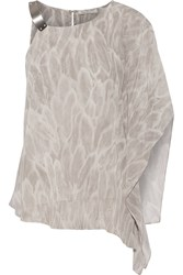 Halston One Shoulder Printed Georgette Top Gray