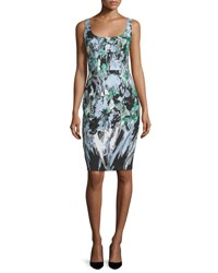 Milly Sleeveless Painterly Floral Print Sheath Dress Black Multi