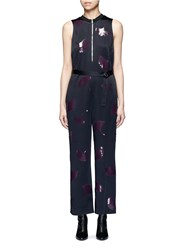 3.1 Phillip Lim 'Ginkgo' Leaf Sequin Belted Satin Jumpsuit Blue