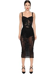 Dolce And Gabbana Floral Embroidered Tulle Bustier Dress