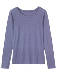 Toast Long Sleeve Fine Slubby Cotton T Shirt Iris
