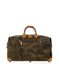 Bric's Life Camouflage Military Green Micro Suede Carry On Holdall