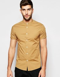 Asos Skinny Shirt In Camel With Grandad Collar And Short Sleeves Camel Tan