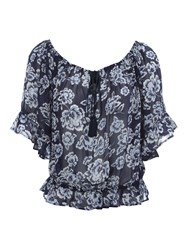 Jane Norman Floral Print Gypsy Top Navy