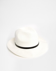 Catarzi Wide Brim Fedora Hat White