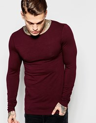 Asos Extreme Muscle Long Sleeve T Shirt With Boat Neck In Oxblood Oxblood