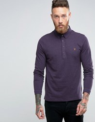 Farah Slim Pique Long Sleeve Polo Buttondown In Purple Fig Red