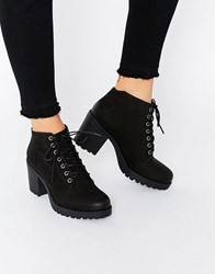 Vagabond Grace Black Nubuck Lace Up Ankle Boots Black Nubuck