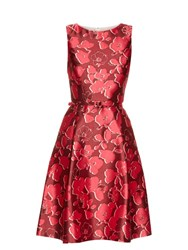 Oscar De La Renta Sleeveless Floral Print Mikado Dress Pink