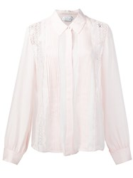 Tanya Taylor Pleated Lace Shirt Nude And Neutrals