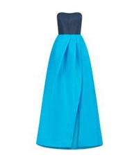 Monique Lhuillier Strapless Colour Block Tea Length Dress Blue