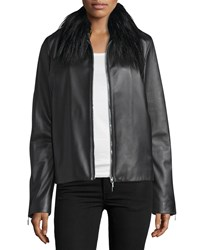 Cnc Costume National Fur Collar Zip Front Leather Jacket Black Women's