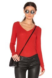Michael Lauren Otis Long Sleeve V Neck Tee Red