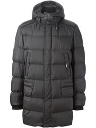 Brioni Hooded Padded Coat Grey