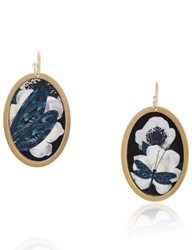 Anna E Alex Gold Oval Cotton Dragonfly Earrings Multi