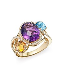 Bloomingdale's Amethyst Blue Topaz And Citrine Statement Ring With Diamonds In 14K Yellow Gold Purple Gold