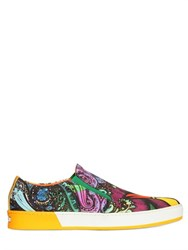 Etro Bird Printed Canvas Slip On Sneakers