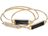 Guess Three Piece Tension Id Bangle Set Black Gold Crystal Bracelet