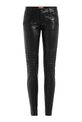 True Religion Skinny Leather Pants With Moto Detail Black