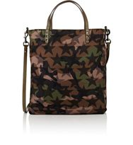 Valentino Men's Leather Trimmed Tote Green
