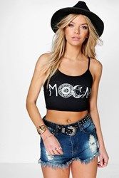 Boohoo Moon Slogan Print Crop Top Black