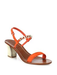 Tory Burch Gemini Link Suede Block Heel Slingback Sandals Red Canyon