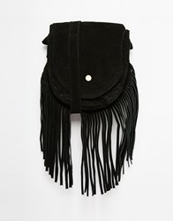 Park Lane Suede Cross Body Bag With Fringing Black