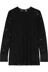 Lanvin Crepe De Chine Trimmed Corded Lace Top Black