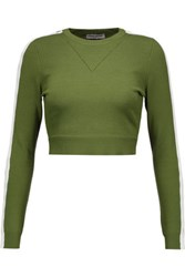 Opening Ceremony Cropped Cutout Stretch Knit Top Army Green