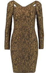 M Missoni Metallic Cutout Stretch Knit Mini Dress Gold