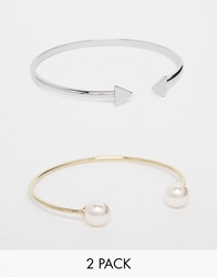 Asos Limited Edition Open Triangle And Faux Pearl Cuff Bracelets Cream