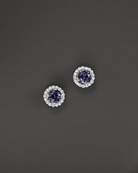 Bloomingdale's Sapphire And Diamond Halo Stud Earrings In 14K White Gold
