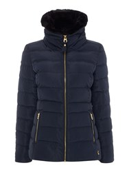 Joules Padded Jacket With Faux Fur Trim Navy