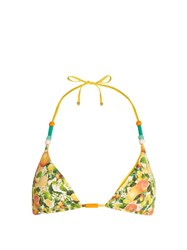 Stella Mccartney Citrus Print Halterneck Triangle Bikini Top Yellow Multi