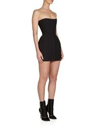 Balmain Strapless Corset Bubble Dress Black