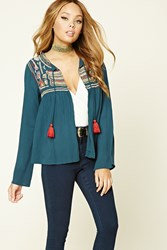 Forever 21 Open Front Peasant Top Teal Rust