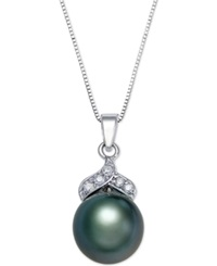 Macy's Tahitian Pearl 9Mm And Diamond Accent Pendant Necklace In 14K White Gold